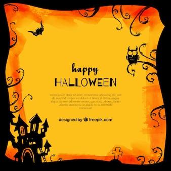 Felice Halloween con il castello e il gufo