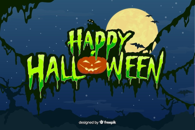 Felice halloween con scritte di luna piena