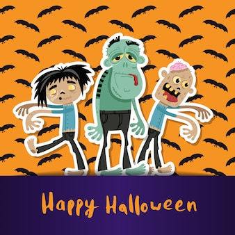 Felice halloween con simpatici zombi