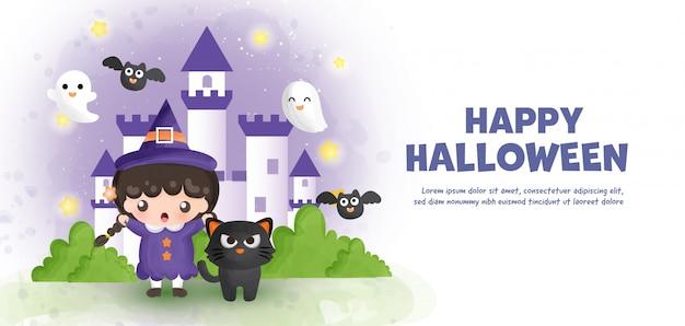 Felice halloween con strega carina e castello in stile colore dell'acqua.