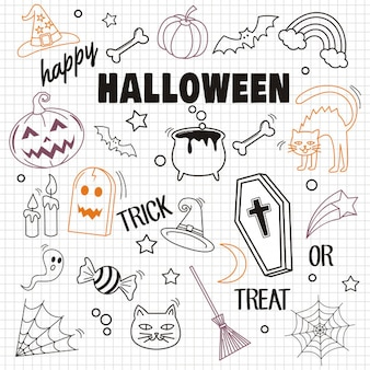 Felice halloween ed elemento su fondo di carta