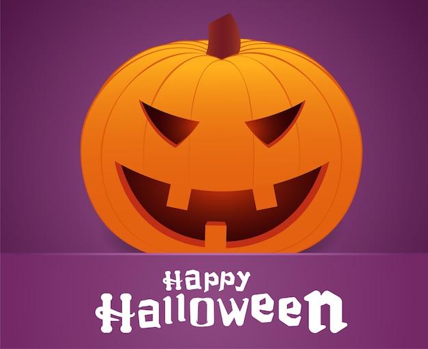Felice halloween. faccia di zucca sorridente su sfondo viola. biglietto d'auguri.