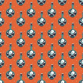 Felice halloween. seamless pattern. bottiglia di veleno con teschio e ossa