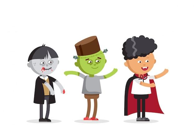 Felice halloween. set di bambini simpatico cartone animato