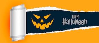 Felice halloween spaventoso sfondo con effetto carta strappata