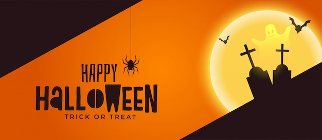 Felice halloween spooky banner con tomba e fantasma