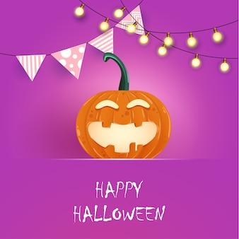 Felice halloween. zucca arancione con personaggi divertenti