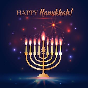 Felice hanukkah brillante sfondo con menorah, david star e bokeh effect.
