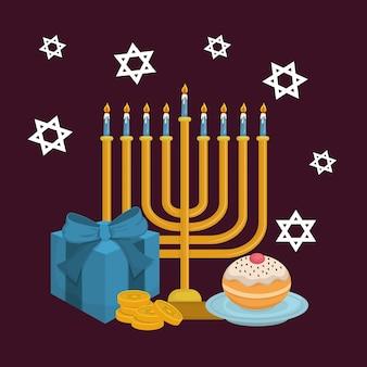Felice hanukkah card con lampadario