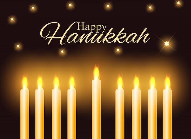 Felice hanukkah, festa ebraica di sfondo.