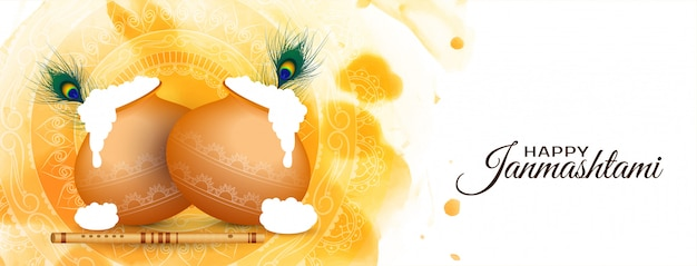 Felice janmashtami festival celebrazione elegante banner design