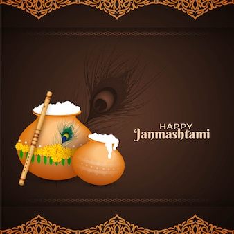 Felice janmashtami festival celebrazione sullo sfondo