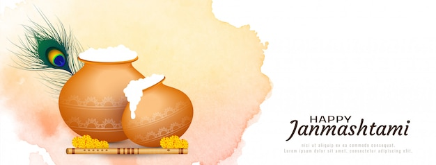Felice janmashtami festival indiano banner design
