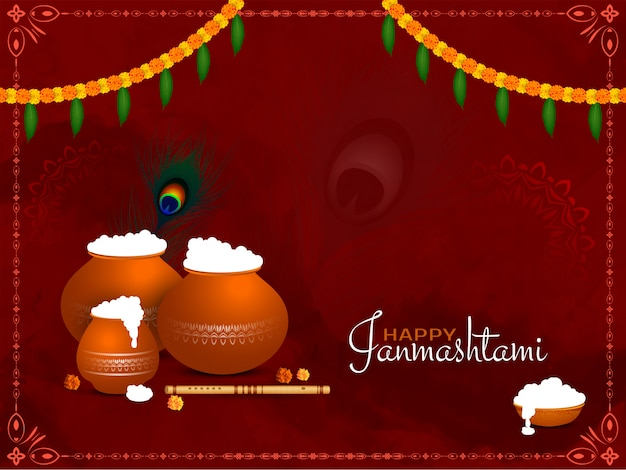 Felice janmashtami indian festival elegante sfondo design