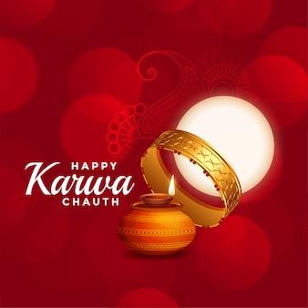 Felice karwa chauth bellissimo rosso con la luna piena