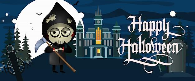 Felice lettering di halloween con grim reaper, castello e cimitero