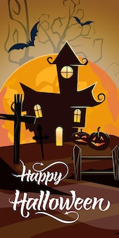 Felice lettering di halloween con luna arancione e il castello