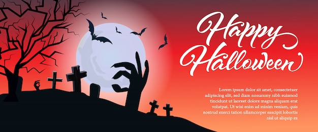 Felice lettering di halloween con testo di esempio e cimitero