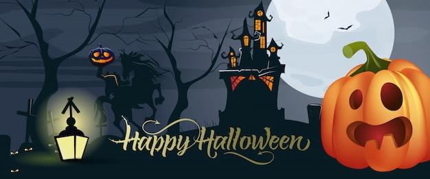 Felice lettering di halloween con zucca, luna e castello