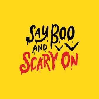 Felice lettering di halloween per poster e invito a una festa
