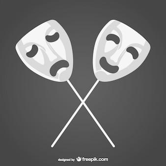 Felice maschere vettoriali tristi