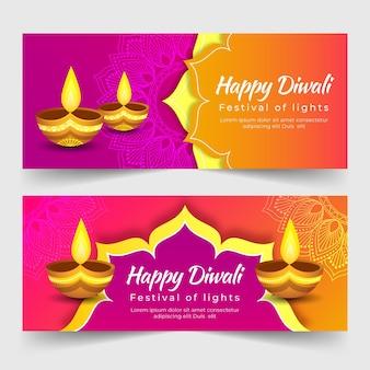 Felice modello di banner diwali con candele