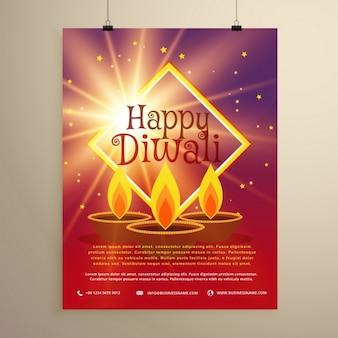 Felice modello di diwali volantino con stella incandescente e tre diyas