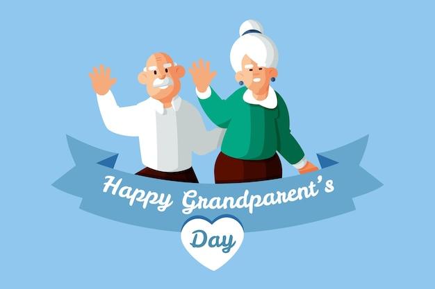 Felice nonno con coppia di anziani