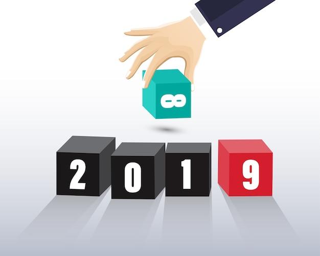 Felice nuovo anno 2019. biglietto di auguri. design colorato illustrazione vettoriale