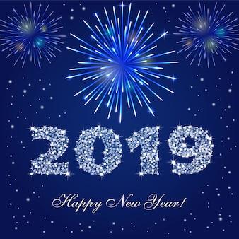Felice nuovo anno 2019 fuochi d'artificio