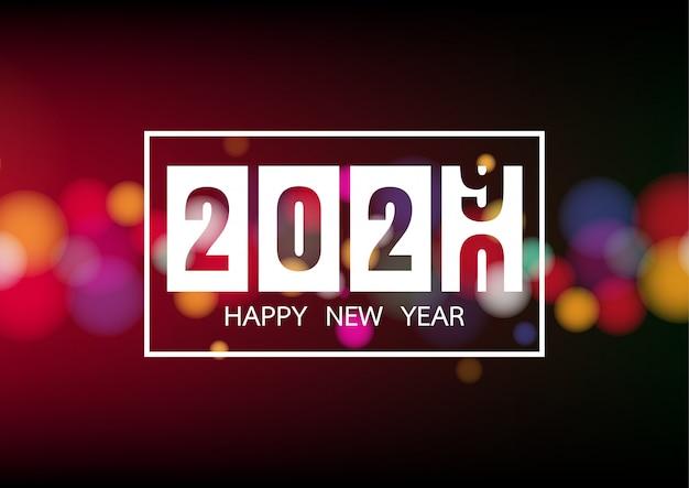 Felice nuovo anno 2020 con luci bianche bokeh per holiday poster