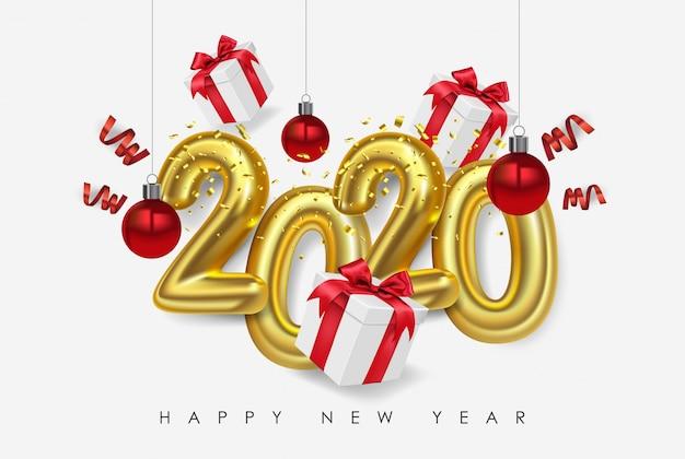 Felice nuovo anno 2020 di vettore. numeri metallici 2020 con confezione regalo e palline di natale