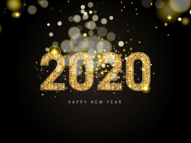 Felice nuovo anno 2020. festa di numeri metallici dorati 2020 e scintillanti glitter. segno 3d realistico. design festivo di poster o banner