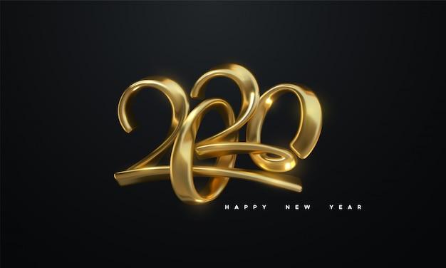 Felice nuovo anno 2020. illustrazione di vettore di festa dei numeri calligrafici metallici dorati 2020