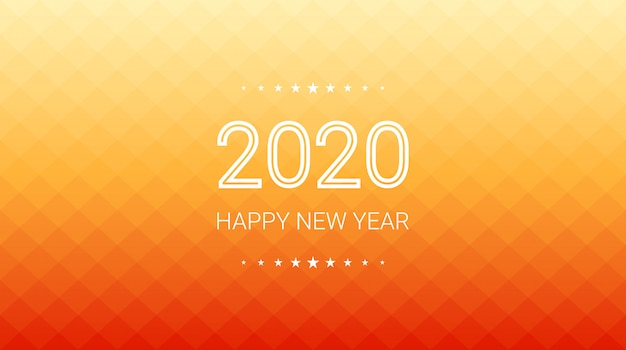 Felice nuovo anno 2020 in gradiente di sfondo arancione poligono quadrato