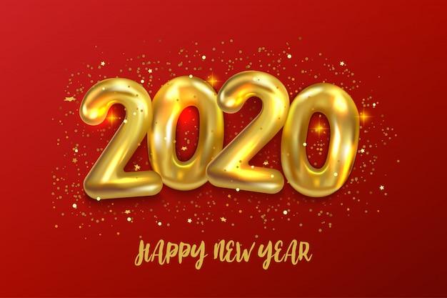 Felice nuovo anno 2020. l'illustrazione di vettore di festa dei palloni dorati metallici numera 2020