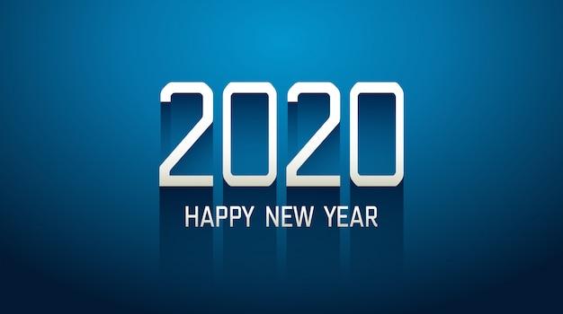 Felice nuovo anno 2020 nel testo di tecnologia con sfondo blu ombra lunga goccia