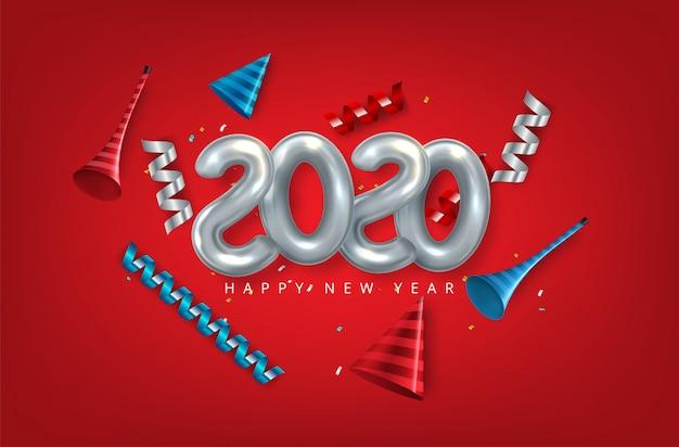 Felice nuovo anno 2020. numeri di carta 3d su topografia astratta bianca.