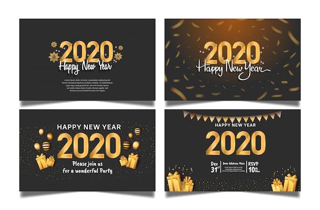 Felice nuovo anno 2020. vettore fissato per la celebrazione