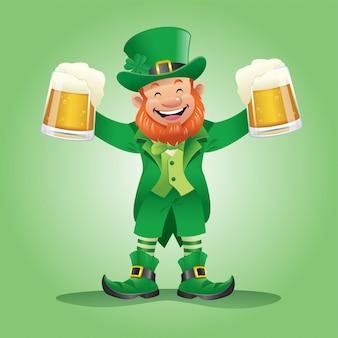 Felice personaggio leprechaun con due bicchieri di birra in mano