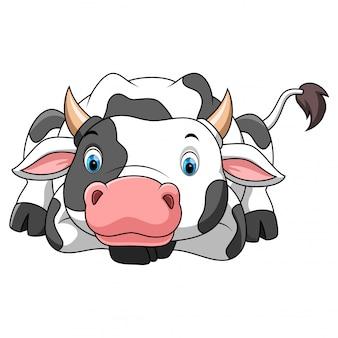 Felice piccolo cartone animato di mucca