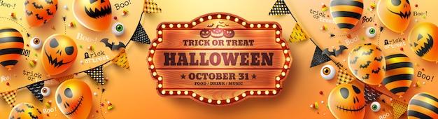 Felice poster di halloween con halloween ghost balloons