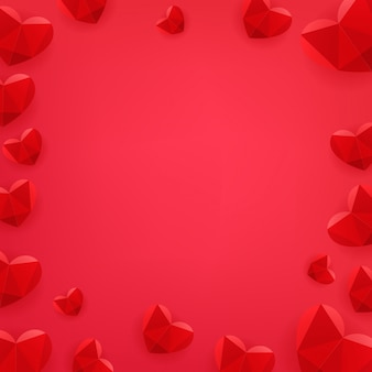 Felice poster di san valentino con cuori rossi