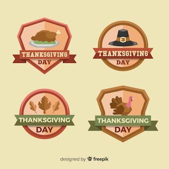 Felice raccolta di etichette del giorno del ringraziamento