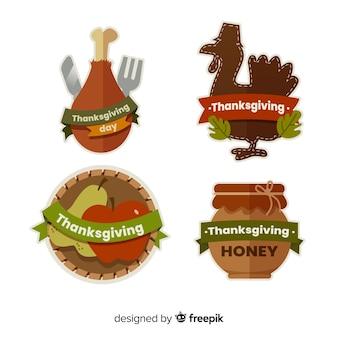 Felice raccolta di ringraziamento distintivo in design piatto