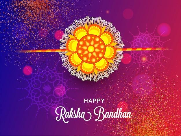 Felice raksha bandhan biglietto di auguri design con bellissimo rakhi (polsino) su sfondo astratto glitter bokeh.