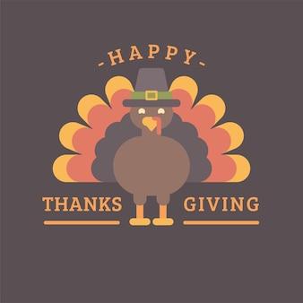 Felice ringraziamento. la turchia in un'illustrazione piatta cappello. auguri di festa