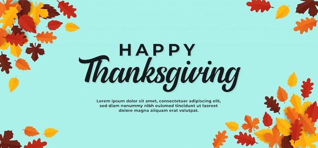 Felice ringraziamento sfondo del testo con foglie secche