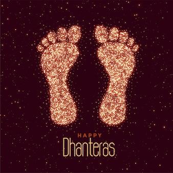 Felice saluto di festival di dhanteras con stampa di piedi
