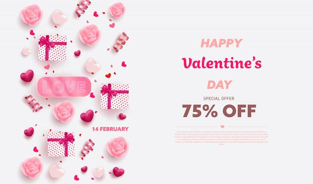 Felice san valentino banner con cuori di lusso rossi e rosa, confezione regalo, nastro ed elementi incantevoli.